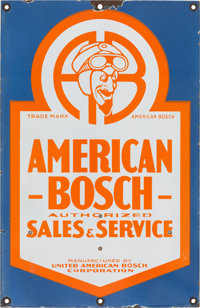 AMERICAN BOSCH PORCELAIN DOUBLE SIDED SALES & SERVICE SIGN 20th century 24 x 15-1/2 inches (61.0 x 39.4 cm)