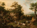 Old Master:Other, HENRI-JOSEPH ANTONISSEN (Flemish, 1737-1794). Landscape withCowherd and Shepherdess, 1772. Oil on beveled oak panel. 18...