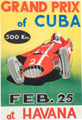 Transportation, Vintage Early 1970's Reprint Of 1958 Grand Prix Of Cuba PosterFeaturing Juan Manuel Fangio...