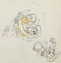 Animation Art:Production Drawing, Two-Gun Mickey Mickey Mouse and Bandit Pete AnimationProduction Drawing (Walt Disney, 1934)....
