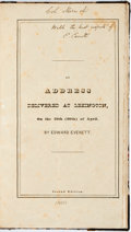 Books:Americana & American History, Edward Everett. SIGNED. An Address Delivered at Lexington, onthe 19th (20th) of April. Charlestown: William W. Whei...