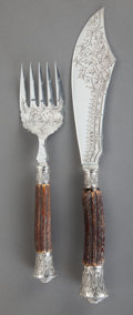 Silver Flatware, British:Flatware, AN ENGLISH SILVER AND BONE FISH SERVICE, John Biggin, Sheffield,England, circa 1900. Marks to all: (lion passant), (crown),...(Total: 2 Items)