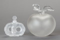 Art Glass:Lalique, TWO LALIQUE FROSTED GLASS PERFUME BOTTLES, post 1945. Marks totaller: Lalique, France. 5-3/4 inches high (14.6 cm) (tal...(Total: 3 Items)