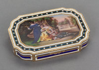 AN ITALIAN SILVER GILT AND ENAMEL BOX, 19th century With British Import Marks: T.C. & SN. LTD., (crown