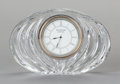 Paintings, A WATERFORD GLASS DESK CLOCK, 20th century. Marks: WATERFORD, IRELAND. 4-1/4 x 6-3/8 x 1-3/4 inches (10.8 x 16.2 x 4.4 c...