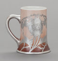 Ceramics & Porcelain, AN AMERICAN PORCELAIN AND SILVER OVERLAY ELKS LODGE MUG, 20th century. Marks: STERLING. 5-1/8 inches high (13.0 cm). ...