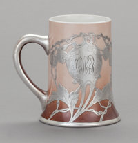 AN AMERICAN PORCELAIN AND SILVER OVERLAY ELKS LODGE MUG, 20th century Marks: STERLING 5-1/8 inches h
