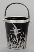 Ceramics & Porcelain, American:Modern  (1900 1949)  , AN AMERICAN BLACK GLASS, RATTAN AND SILVER OVERLAY ICE BUCKET,attributed to Rockwell Silver Co., 20th century. Marks:STE...