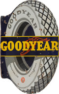 Transportation:Automobilia, Vintage Original 1930s Goodyear Tires All Weather Enamel Sign ...