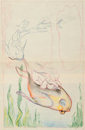 Animation Art:Production Drawing, Merbabies Pan Concept Drawing (Walt Disney, 1938)....