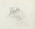 Animation Art:Production Drawing, Autograph Hound Donald Duck and Studio Guard Color ModelDrawing (Walt Disney, 1939)....