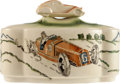 Transportation:Automobilia, Large Ceramic Candy Jar With Automobile On Lid And Marked ESA. ...