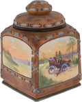Transportation:Automobilia, Nipponware Molded China Humidor With Automotive Scene...