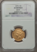 Three Dollar Gold Pieces: , 1870 $3 -- Bent -- NGC Details. XF. NGC Census: (7/241). PCGS Population (9/191). Mintage: 3,500. Numismedia Wsl. Price for...