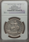 Trade Dollars, 1875-S/CC T$1 Type 1 Reverse -- Harshly Cleaned -- NGC Details. AU. FS-501. NGC Census: (0/50). PCGS Population (6/51). N...