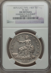 1875-S/CC T$1 Type 1 Reverse -- Harshly Cleaned -- NGC Details. AU. FS-501. NGC Census: (0/50). PCGS Population (6/51)...