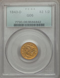 Liberty Quarter Eagles: , 1843-D $2 1/2 Small D Good 6 PCGS. PCGS Population (3/237). NGC Census: (0/251). Mintage: 36,209. Numismedia Wsl. Price for...