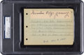 Autographs:Others, Circa 1940 Denton T. Cy Young Signed Cut Signature, PSA/DNA Mint9....