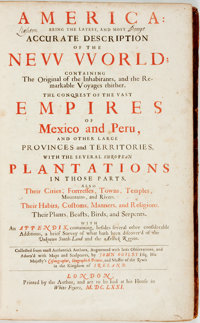 John Ogilby. America: Being the Latest, and Most Accurate Description of the New World. Cont