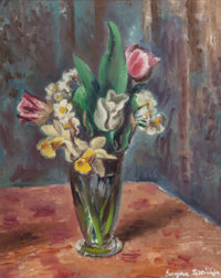 EUGENE EDWARD SPEICHER (American, 1883-1962) Tulips and Apple Blossoms Oil on canvas 20 x 16 inch