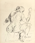 Fine Art - Work on Paper:Drawing, BYRON BROWNE (American, 1907-1961). Seated Female Nude,1949. Ink on paper. 23-1/2 x 19-1/2 inches (59.7 x 49.5 cm) (sig...