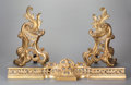 Decorative Arts, French:Other , A PAIR OF LOUIS XV-STYLE GILT BRONZE CHENETS AND ASSOCIATED GILTBRONZE FIRE FENDER, circa 1900. 19-1/2 x 40 x 5 inches (49....(Total: 3 Items)