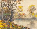 Fine Art - Work on Paper:Drawing, PAUL EMILE PISSARRO (French, 1884-1972). Vibrant AutumnLandscape on Quiet Waters. Charcoal and watercolor on paper.9-3...