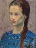 Fine Art - Painting, American:Modern  (1900 1949)  , RAPHAEL SOYER (American, 1899-1987). Girl in Blue. Oil oncanvas. 12 x 9 inches (30.5 x 22.9 cm). Signed lower right:...