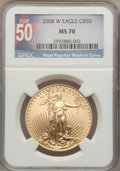 Modern Bullion Coins, 2008-W $50 One-Ounce Gold Eagle MS70 NGC. Top-50 Most PopularModern Coins. NGC Census: (0). PCGS Population (713). Numism...