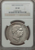 Coins of Hawaii: , 1883 $1 Hawaii Dollar XF40 NGC. NGC Census: (57/272). PCGSPopulation (149/429). Mintage: 500,000. ...