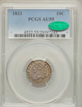 Bust Dimes: , 1833 10C AU55 PCGS. CAC. PCGS Population (42/155). NGC Census:(21/227). Mintage: 485,000. Numismedia Wsl. Price for proble...