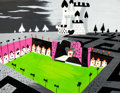 "Animation Art:Concept Art, Mary Blair Alice in Wonderland ""Queen of Hearts Castle"" Concept Painting Original Art (Walt Disney, 1951)..."