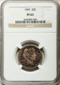 Proof Barber Quarters: , 1907 25C PR63 NGC. NGC Census: (29/180). PCGS Population (32/98). Mintage: 575. Numismedia Wsl. Price for problem free NGC/...