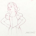 Animation Art:Production Drawing, Snow White and the Seven Dwarfs Snow White ProductionDrawing Signed by Disney Legend Marc Davis (Walt Disney, 1937)....