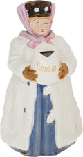 "Transportation:Automobilia, Rare Austrian Benzin China Lady Figurine In Motoring Attire Titled""Out Of Gas""..."