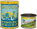 Transportation:Automobilia, Two Automotive Related Tins: Trop-Artic Cup And Motor StogiesCan... (Total: 2 Items)