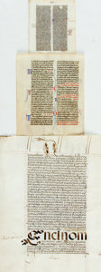 "Books:Illuminated Manuscripts, Group of Three Vellum Manuscript Leaves. From various sources,three leaves of varying size, ranging from 4"" x 5.75"" to 9"" x..."