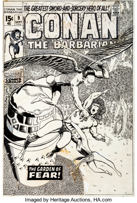 Barry Smith Conan the Barbarian #9 Cover Original Art (Marvel, 1971)....