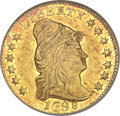 Early Quarter Eagles, 1798 $2 1/2 Wide Date, Five Berries AU50 ANACS. BD-2, R.5....