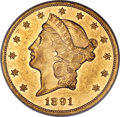 Liberty Double Eagles, 1891 $20 AU50 ANACS....