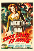 "Movie Posters:War, This Land is Mine (RKO, 1943). One Sheet (27"" X 41"").. ..."