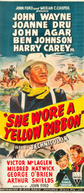 "Movie Posters:Western, She Wore a Yellow Ribbon (RKO, 1949). Australian Daybill (13"" X29.75""). Western.. ..."