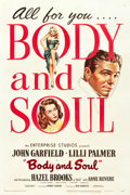 """Movie Posters:Film Noir, Body and Soul (United Artists, 1947). One Sheet (27.25"""" X 41""""). Film Noir.. ..."""