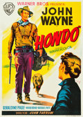 "Movie Posters:Western, Hondo (Warner Brothers, 1953). Spanish One Sheet (28"" X 39"").. ..."