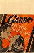 "Movie Posters:Drama, As You Desire Me (MGM, 1932). Window Card (14"" X 22"").. ..."