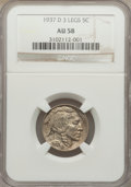 Buffalo Nickels, 1937-D 5C Three-Legged, FS-901, AU58 NGC....