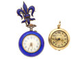 Timepieces:Pendant , Silver Blue Enamel With Pin & 14k Gold Pendant Watch. ... (Total: 2 Items)