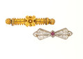 Estate Jewelry:Brooches - Pins, Tourmaline, Gold Brooch Lot. ...