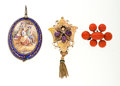 Estate Jewelry:Lots, Antique Multi-Stone, Enamel, Gold, Silver Pendant and Brooch Lot. ... (Total: 3 Items)
