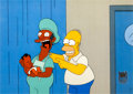 """Animation Art:Production Cel, The Simpsons """"Eight Misbehavin"""" Homer and Apu Production CelSetup (Fox, 1999).... (Total: 2 Items)"""